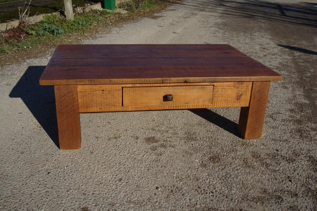 Above Right: Plank Coffee Table With Drawer: Reclaimed Timber, Handwaxed  And Finished With Handmade Drawer Handle. Rectangular With Square Legs
