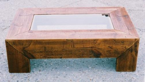 Glass Top Frame Table Safety Glass Framed By Hand Waxed Frame Reclaimed  Timber.